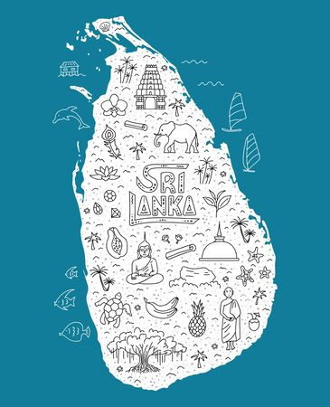 Stylized tourist map of Sri Lanka with main symbols and sights. Vector.