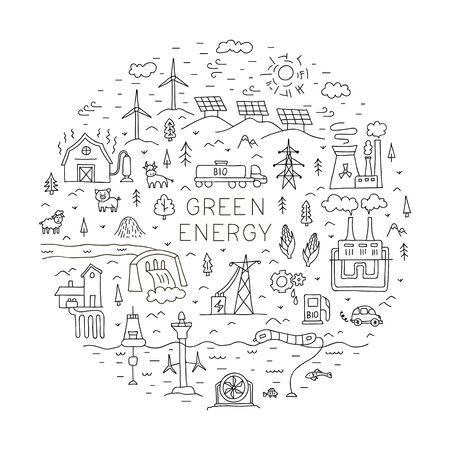 Énergie verte. Composition vectorielle avec un cadre rond. Concept.