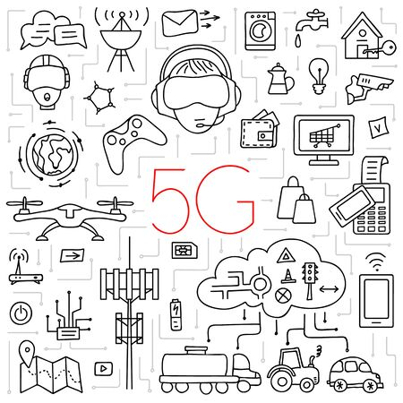 5g wireless internet. Linear icons on the theme of modern technology. Vector. 向量圖像