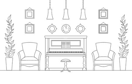 Piano room in linear style. Vector music room with furniture and decor. 일러스트