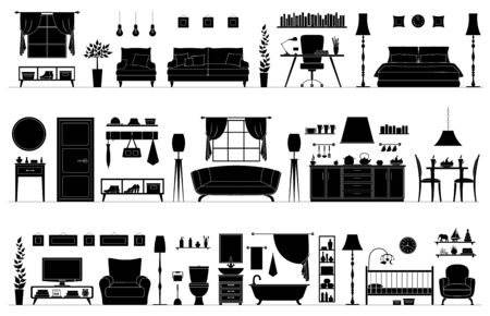 Set of black and white silhouettes of different rooms. Vector furniture stencils isolated on white background. Horizontal banner with panorama of interiors. Room templates.