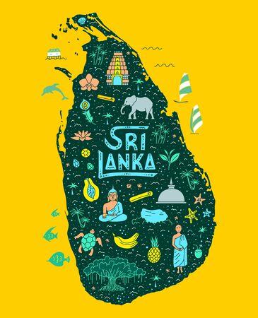 Tourist map of Sri Lanka with hand-drawn symbols, landmarks and lettering. Bright vector illustration in flat cartoon style. Poster with Ceylon. Ilustração