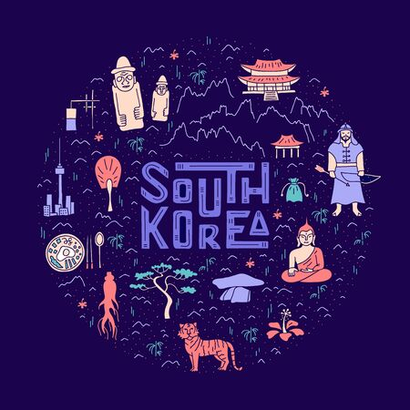 Cartoon map of South Korea in the shape of a circle. Hand-drawn concept with the main symbols and landmarks of the country. Colorful vector illustration on a dark bright background. Travel poster.