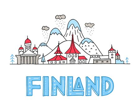 Hand-drawn panorama of Finland with lettering. Horizontal banner with architectural landmarks of the country and landscape. Vector hand-drawn illustration in doodle style. Travel poster.