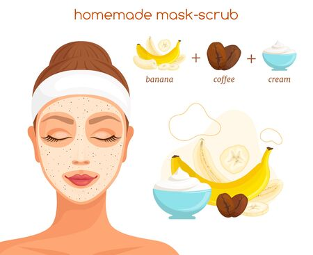 A recipe for a coffee-based exfoliating scrub. Vector illustration. Homemade cosmetics.