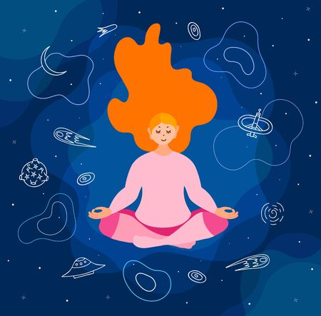 A woman practices yoga in space. Vector illustration. Ilustração