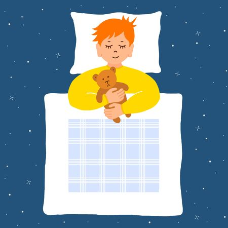 Sleeping baby under the covers in an embrace with his bear. Vector. Cute sleeping boy. 向量圖像