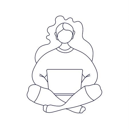 Linear silhouette of a woman with a laptop. Vector black and white illustration in outline style. Girl sitting cross-legged and working on a laptop.