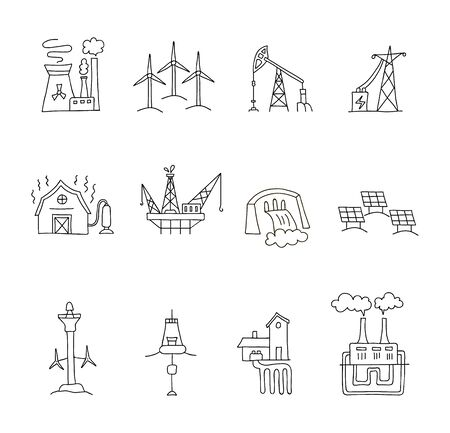 Set of linear icons on the theme of energy sources. Symbols of renewable and fossil energy. Vector illustration in outline style. Modern equipment and installations. Ilustração