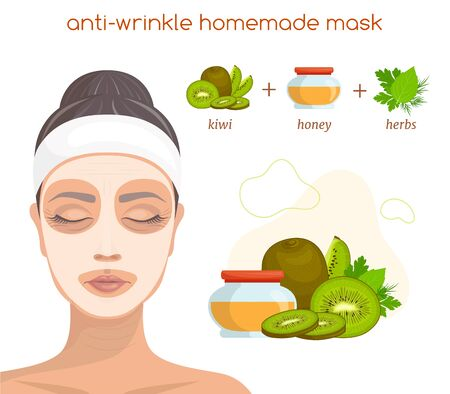 The recipe for a homemade natural mask for aging facial skin. Vector illustration. Stockfoto - 140769572