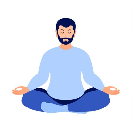 Man practices yoga, meditation in lotus position. Vector illustration.
