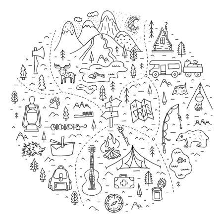 Map of a camping in the forest with basic symbols, trails and places of rest. A trip to nature. Vector illustration.