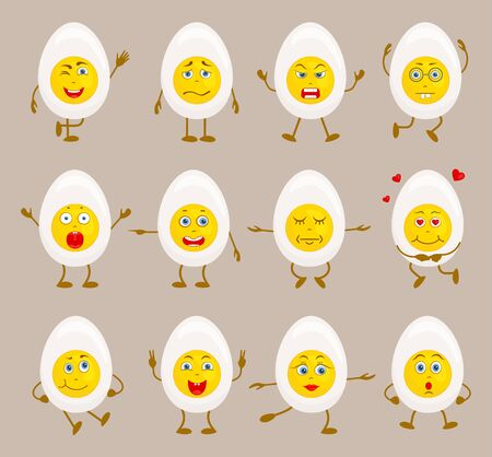 Set of characters in the form of half an egg. Vector illustration for easter.