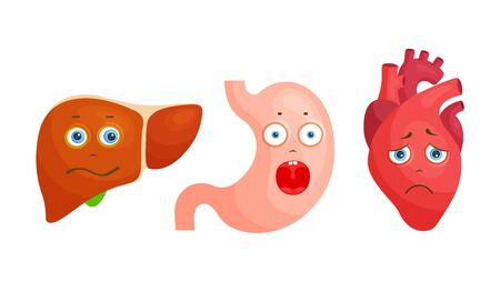 Liver, heart and stomach characters. Upset and sad human organs. Vector.
