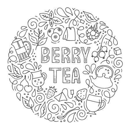 Vector hand-drawn illustration. Round frame on the theme of berry tea.