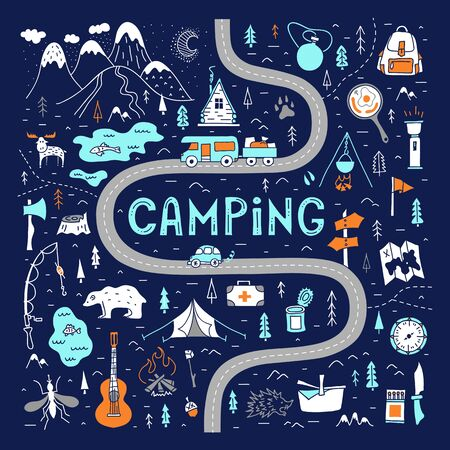 Camping. A hand-drawn map with basic symbols and places to travel for the weekend.