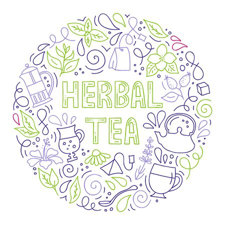 Vector hand-drawn illustration. Round frame on the theme of herbal tea.