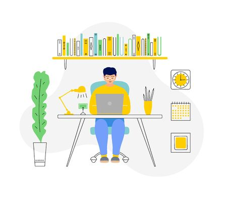 A man works remotely from home. Vector illustration. Freelancer at his desk. 向量圖像