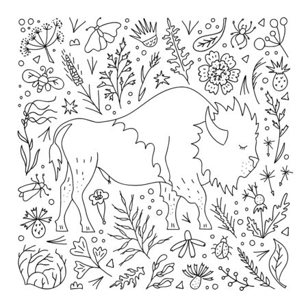 Outline bison on the background of forest elements. Hand-drawn pattern for coloring book. Vector.