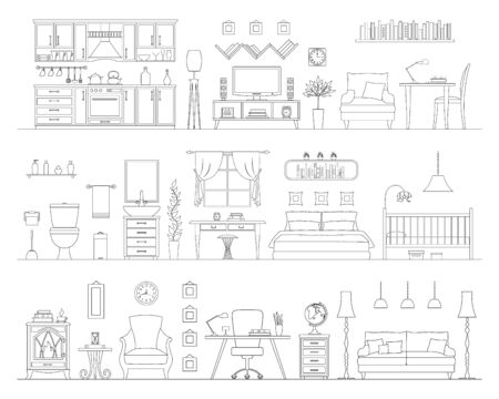Horizontal panorama of the interior furnished with various furniture. Vector illustration in a linear style. Room with outline furniture silhouettes. Scheme of interior items.
