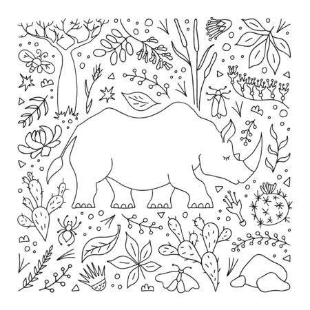 Hand-drawn rhinoceros in outline style on the background of savannah vegetation, grasses, leaves and flowers. Coloring book with plant elements and rhino. Vector linear illustration in doodle style. Illustration