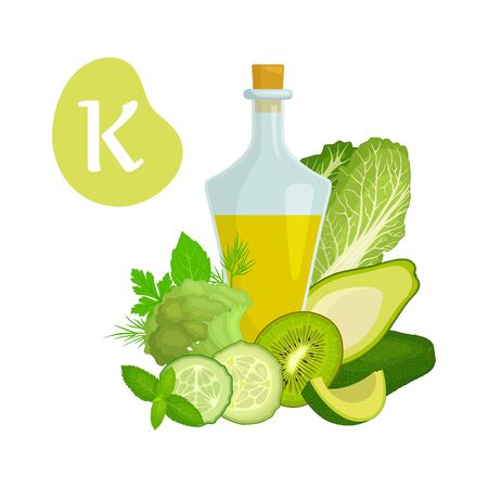Content of vitamins K in various foods. Information banner on the theme of healthy eating and diet. Vector illustration in cartoon style. A set of products containing vitamin K. Illusztráció