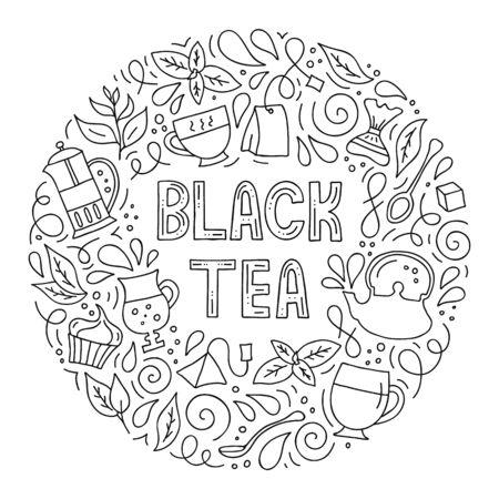 Vector hand-drawn illustration. Round frame on the theme of black tea. 일러스트