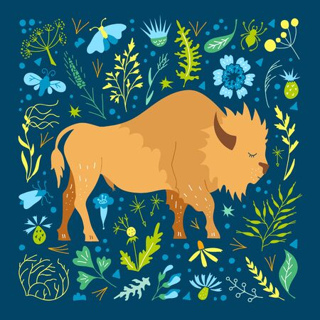 Bison on a background of foliage and flowers. Vector. 向量圖像