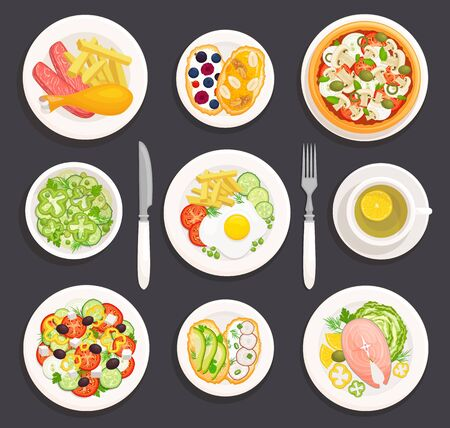 Set of various dishes top view. Plates with food in cartoon style. Food to choose from for breakfast, lunch and dinner. Ready-made table. Vector illustration. Flat lay. Vettoriali