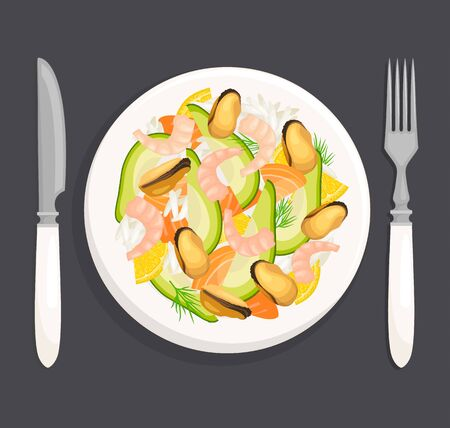 Seafood salad. Vector illustration. Top View. Flat lay.