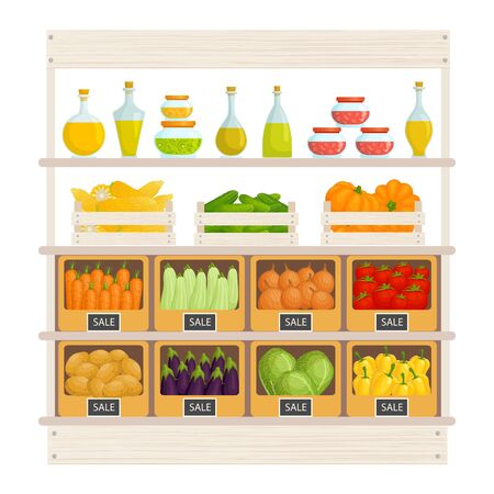 Stand for the sale of food. Farm stall with fresh vegetables and fruits. Vector illustration.