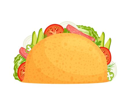 Tacos with delicious filling. Traditional mexican street food. Vector illustration in cartoon style. Stuffed Tacos Isolated on a White Background.  イラスト・ベクター素材