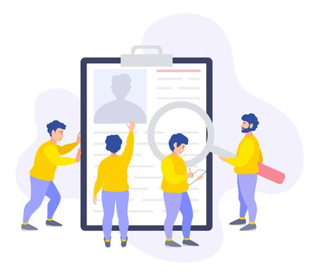 Personnel department employees consider a candidate's resume for a vacant position and make their choice. People work in the recruitment team. Flat vector banner. Human resources and job search.