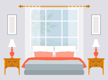 Design interior of bedroom with furniture and windows. Illustration in flat style. Vector.
