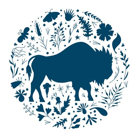 Round frame with bison and herbs. Vector silhouette.