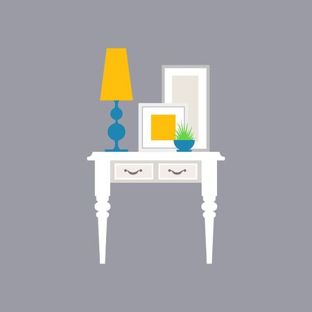 Interior decoration. Selection of furniture and home decor. Vector. Stock Illustratie