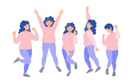 Women have fun. A group of girls in identical costumes dance at a party. Vector.