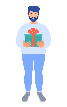 Delivery man holding a gift box with a bow. Vector. Gift delivery. Ilustrace