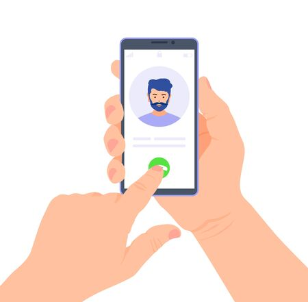 Smartphone in the hands. Incoming call to telephone. Vector. Ilustrace