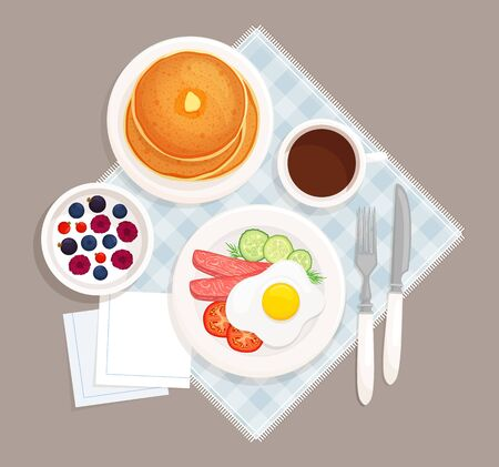 Served breakfast on the table top view. On the plates are scrambled eggs with bacon, muffin, yogurt with berries, coffee, napkins and devices for eating. Vector illustration in cartoon style isolated on a dark background.