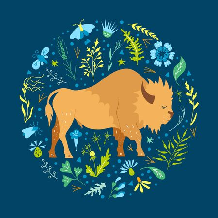Cute bison grazes in the meadow. Vector round frame for cards and nursery decor. Hand-drawn buffalo among herbs and flowers. Bright children's illustration. 向量圖像