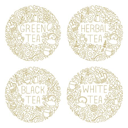 Round decorative frames with the names of tea. Vector illustration in outline style. Set of hand-drawn tags. Template for decoration, menu, walls, packaging and labels.