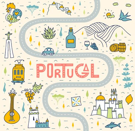 Stylized tourist route for a trip to the sights of Portugal. Hand-drawn travel map with road, lettering and country symbols in carton doodle style. Vector illustration.