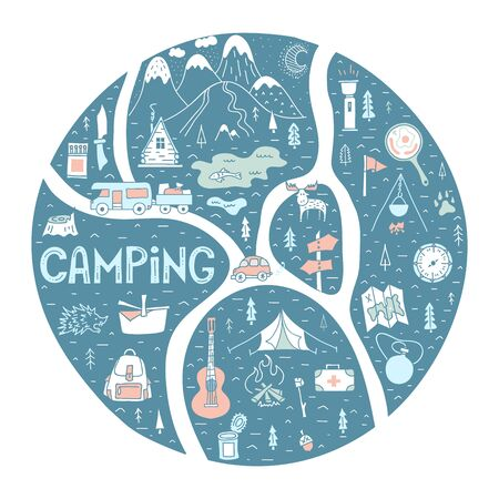 Summer camping theme. Round colorful frame with a route, road, trails, forest and mountains. Hand-drawn touristic map with lettering. Vector. Hiking trail. Trekking in outdoor recreation.