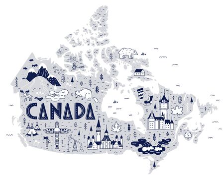 Hand-drawn travel map of Canada with lettering and landmarks isolated on white background. Symbols and attractions of the country in a cardboard doodle style.