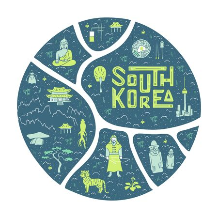 South Korea stylized touristic map with landmarks and country symbols in circle form. Vector illustration in cartoon doodle style with lettering. Sight and attractions. Template for souvenir.