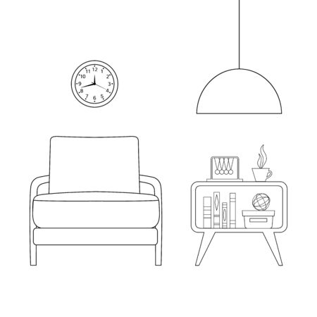 Rest area with an armchair, a bedside table and a lamp in outline style. Interior design in thin lines. The plan of the room with furniture. Vector illustration.