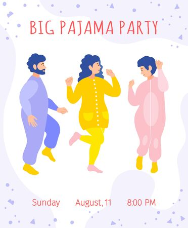 Invitation to a pajama party. Cute card with dancing fun friends, the inscription, time and date. Colorful template with women and man in pajamas. Vector illustration in flat style. Ilustrace
