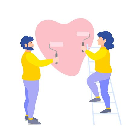 Young couple man and woman paint a wall. Loving people paint a heart with rollers. Vector illustration in flat style. The family is repairing together. Ilustrace