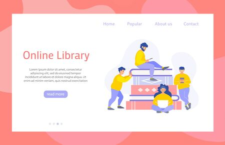 Flat style website for online library. Landing for service for reading books and distance learning. Vector banner with tiny people who look at gadgets on the background of a stack of books. Study app.